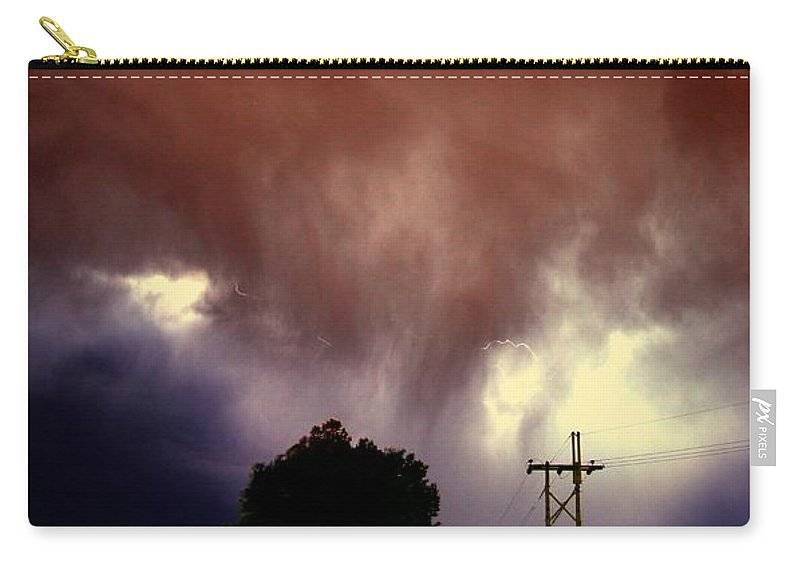Stormscape Carry-all Pouch featuring the photograph Rounds 2 3 Late Night Nebraska Storms by NebraskaSC
