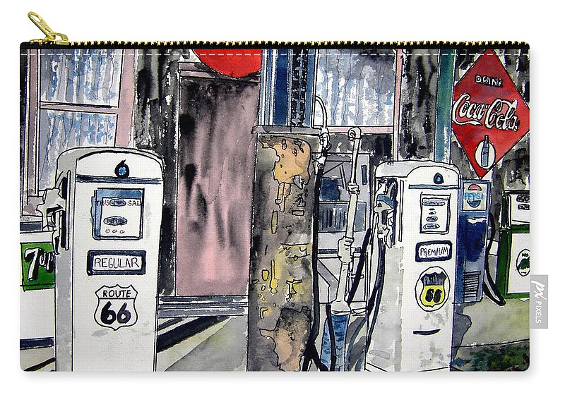 Watercolor Carry-all Pouch featuring the painting Route 66 Gas Station by Derek Mccrea