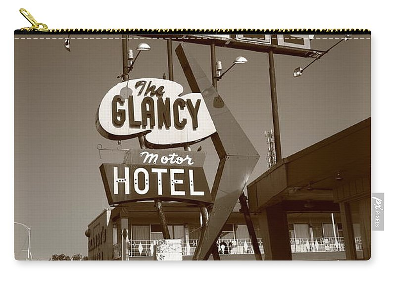 66 Carry-all Pouch featuring the photograph Route 66 - Glancy Motel by Frank Romeo
