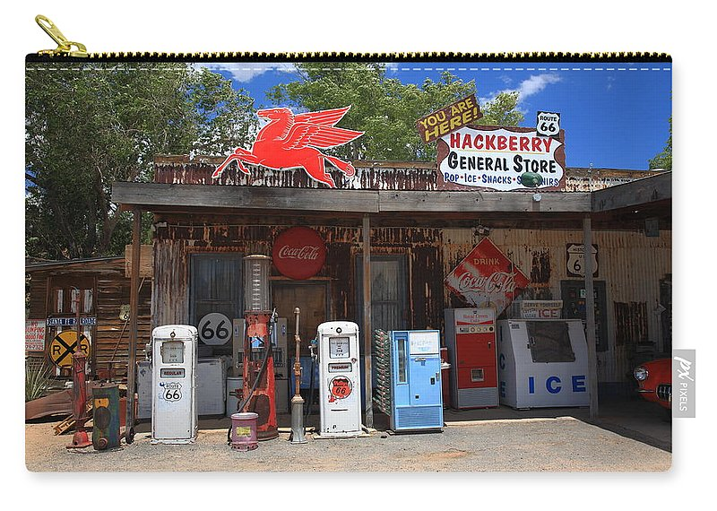 66 Carry All Pouch Featuring The Photograph Route 66   Hackberry General  Store By Frank