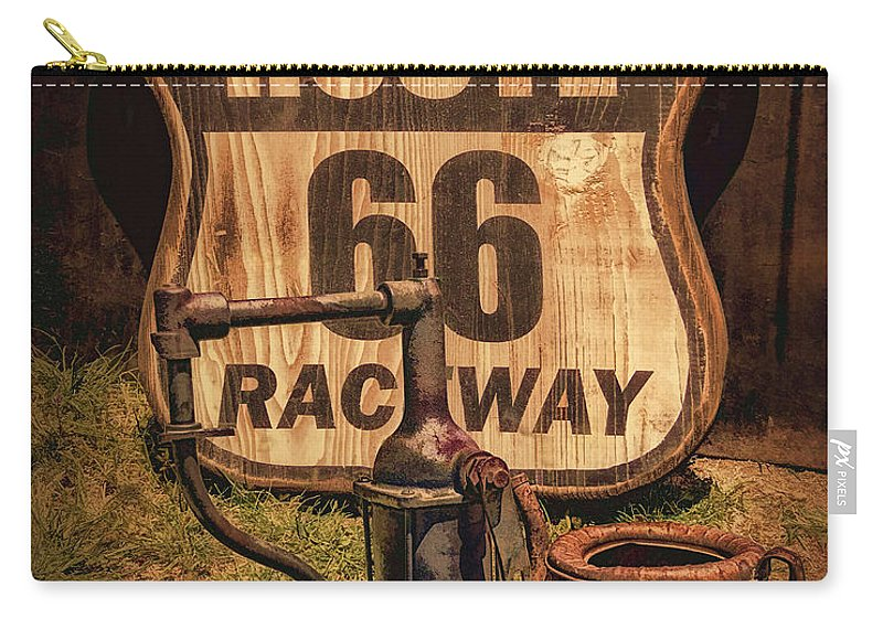 Route 66 Raceway Sign Carry-all Pouch featuring the photograph Route 66 Raceway by Priscilla Burgers