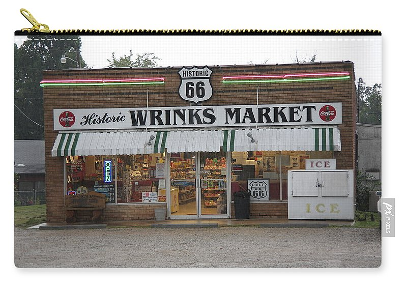66 Carry-all Pouch featuring the photograph Route 66 - Wrink's Market by Frank Romeo