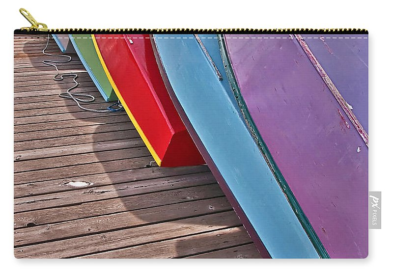 Boats Carry-all Pouch featuring the photograph Row Of Colorful Boats Art Prints by Valerie Garner