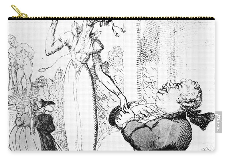1810 Carry-all Pouch featuring the photograph Rowlandson: Cartoon, 1810 by Granger