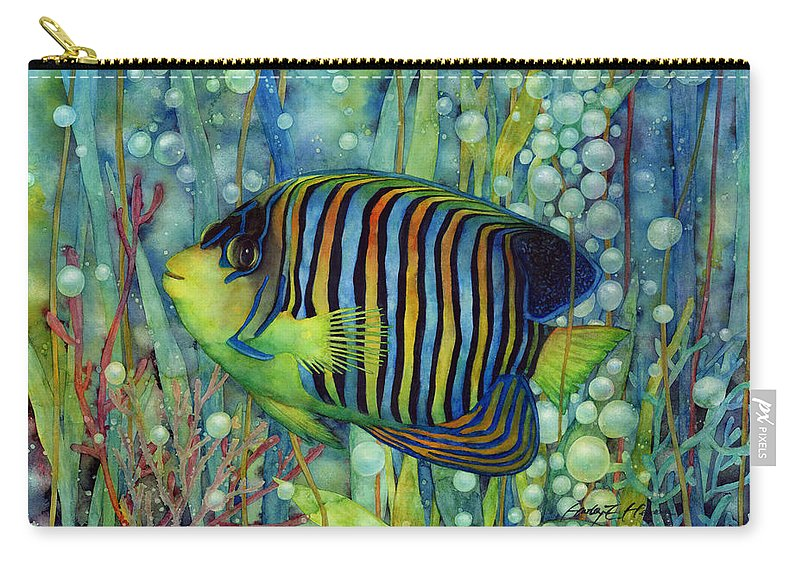 Fish Carry-all Pouch featuring the painting Royal Angelfish by Hailey E Herrera