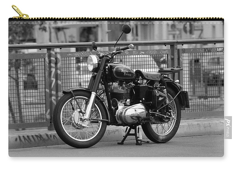 Royal Enfield Motorbike Motorcycle Indian British Bw Sw Bike Photograph Berlin Carry-all Pouch featuring the photograph Royal Enfield Goes Berlin by Steve K