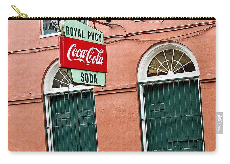 New Orleans Carry-all Pouch featuring the photograph Royal St. Pharmacy by Scott Pellegrin