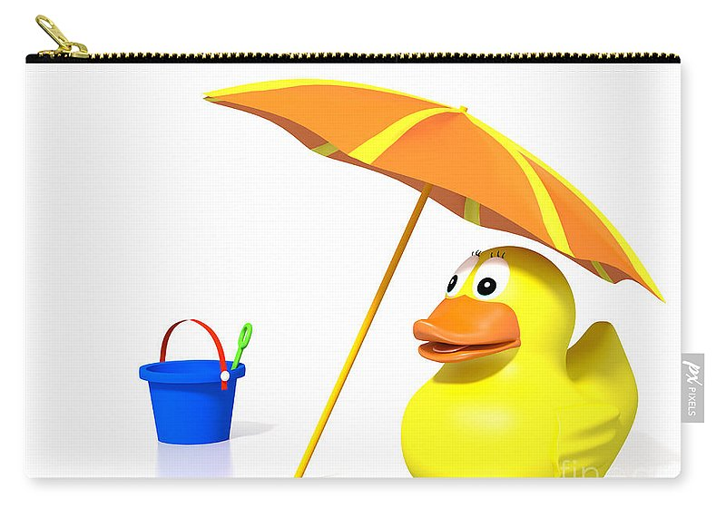 White Carry-all Pouch featuring the digital art Rubber Duck At The Beach by Jan Brons