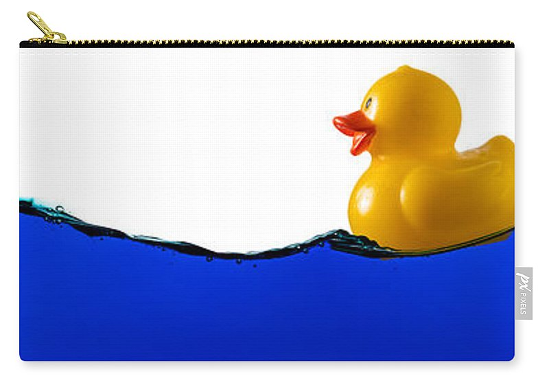 Water Carry-all Pouch featuring the photograph Rubber Ducky Rides A Wave by Steve Gadomski