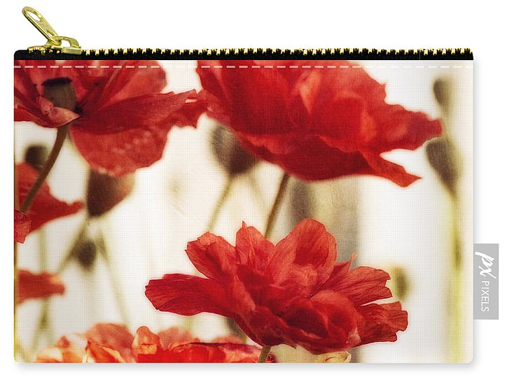 Ruby Red Poppy Flowers Carry All Pouch For Sale By Priska Wettstein