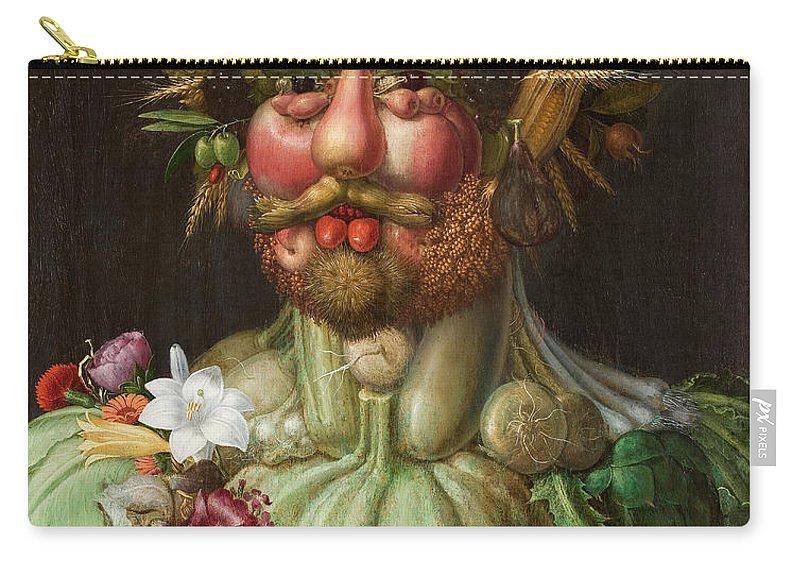 Giuseppe Arcimboldo Carry-all Pouch featuring the painting Rudolf II Of Habsburg As Vertumnus by Giuseppe Arcimboldo