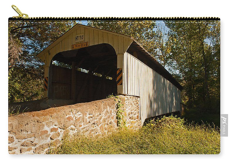 Rudolph Arthur Covered Bridge Carry-all Pouch featuring the photograph Rudolph Arthur Covered Bridge by Michael Porchik