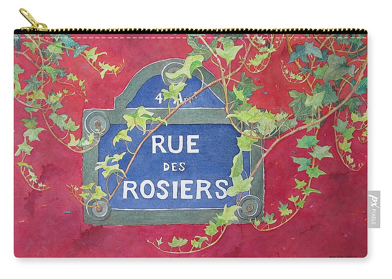 Red Wall Carry-all Pouch featuring the painting Rue Des Rosiers In Paris by Mary Ellen Mueller Legault
