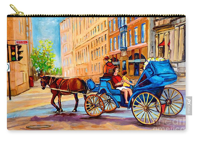 Rue Notre Dame Carry-all Pouch featuring the painting Rue Notre Dame Caleche Ride by Carole Spandau
