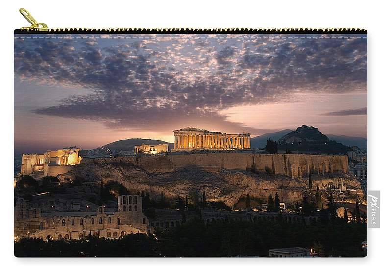 Photography Carry-all Pouch featuring the photograph Ruins Of A Temple, Athens, Attica by Panoramic Images
