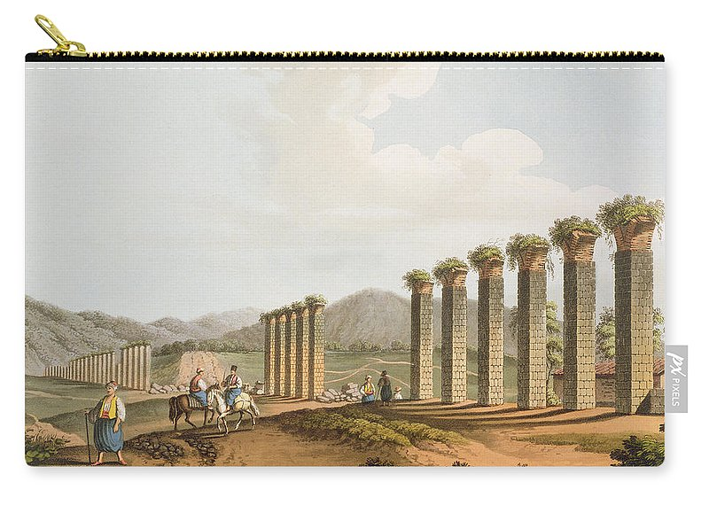 Colonnaded Carry-all Pouch featuring the drawing Ruins Of An Aqueduct Near Ephesus, 1810 by Luigi Mayer