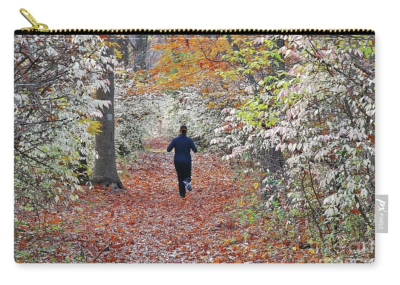 Run Carry-all Pouch featuring the photograph Run Through The Woods by Allen Beatty