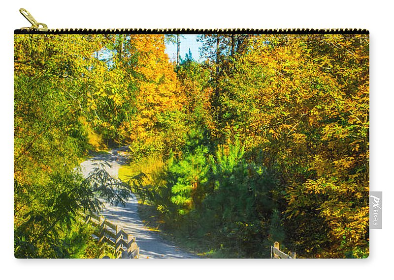 Path Carry-all Pouch featuring the photograph Runner's Path In Autumn by Parker Cunningham