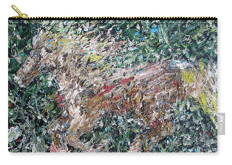 Horse Carry-all Pouch featuring the painting Running Beauty - Oil Painting Portrait by Fabrizio Cassetta