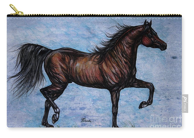 Horse Carry-all Pouch featuring the painting Running In The Blue by Angel Ciesniarska