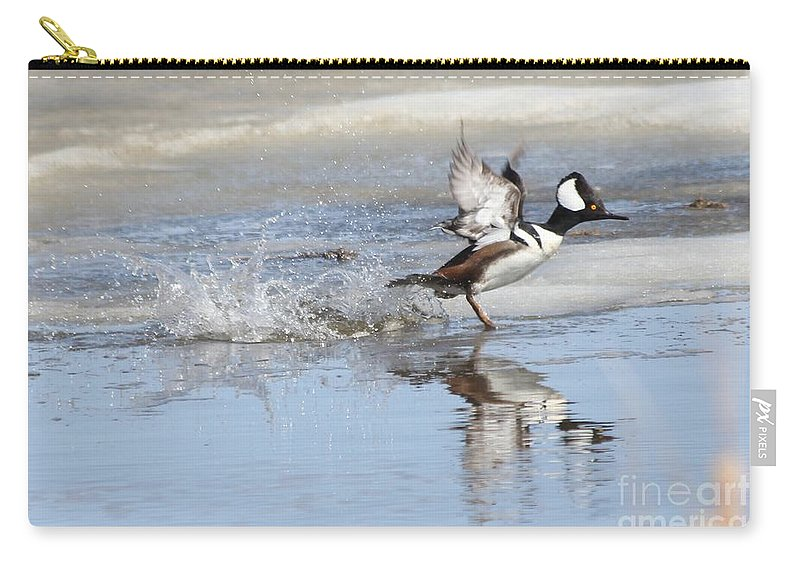 Hodded Carry-all Pouch featuring the photograph Running On Water by Lori Tordsen