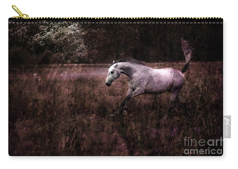 Grey Horse Carry-all Pouch featuring the photograph Running Through The Purple World by Angel Ciesniarska