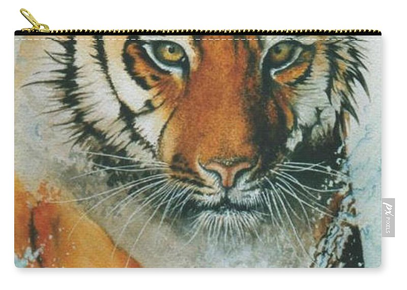 Tiger Carry-all Pouch featuring the painting Running Tiger by Alan Pickersgill