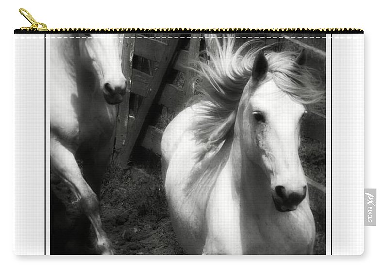 White Horses Carry-all Pouch featuring the photograph Running White by Alice Gipson