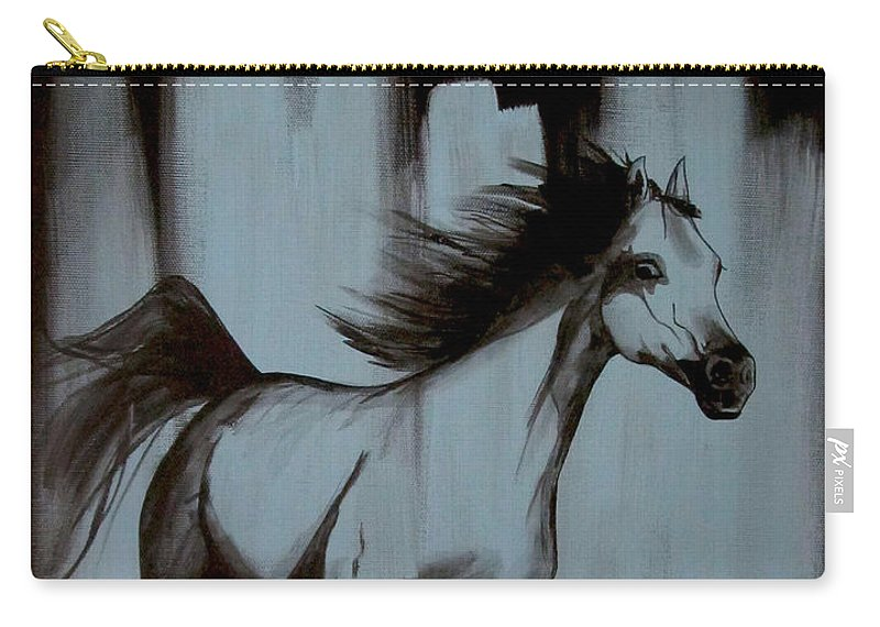 Running Horse Carry-all Pouch featuring the painting Running Wild by Konni Jensen