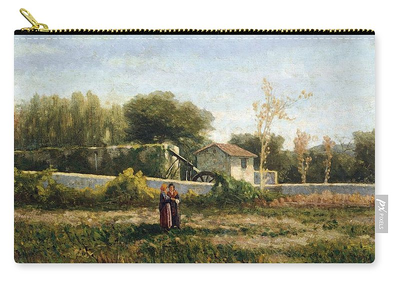 Painting; 19th Century Painting; Europe; Italy; Rayper Ernesto; Italian Regional Art Across The Centuries; Ligurian School; Genoa Nervi Galleria D'arte Moderna (art Gallery) Carry-all Pouch featuring the painting Rural Landscape by Ernesto Rayper