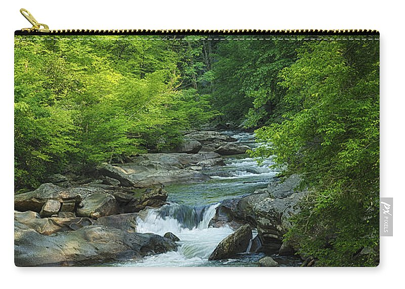 Water Carry-all Pouch featuring the photograph Rushing Smoky Mountain Stream E221 by Wendell Franks