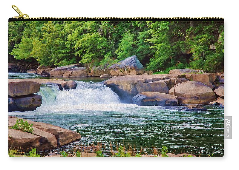 Waterfalls Carry-all Pouch featuring the digital art Rushing Water by Anita Hubbard
