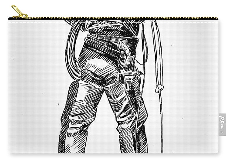 19th Century Carry-all Pouch featuring the drawing Russell The Cowboy by Granger