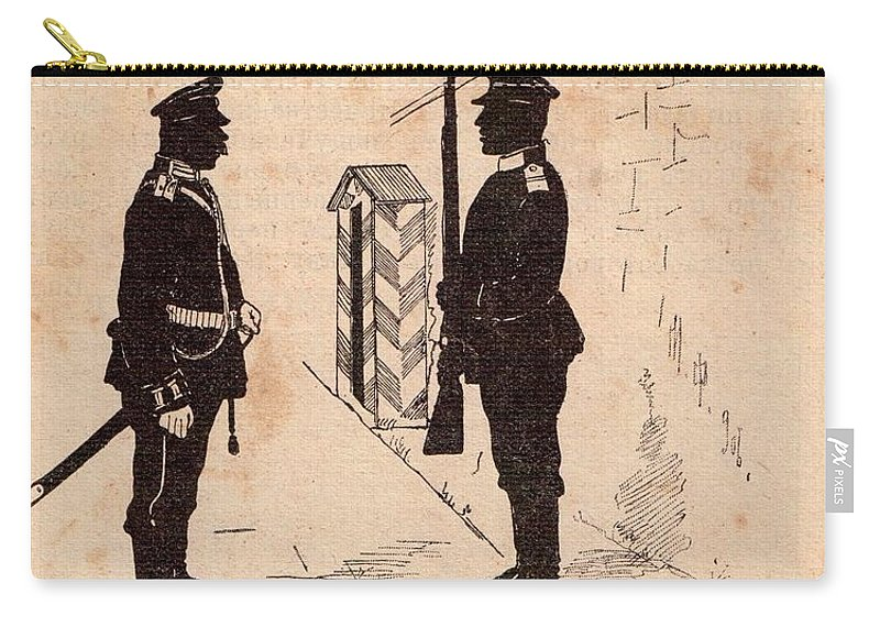 Soldiers Carry-all Pouch featuring the drawing Russian Soldiers by Oleg Konin