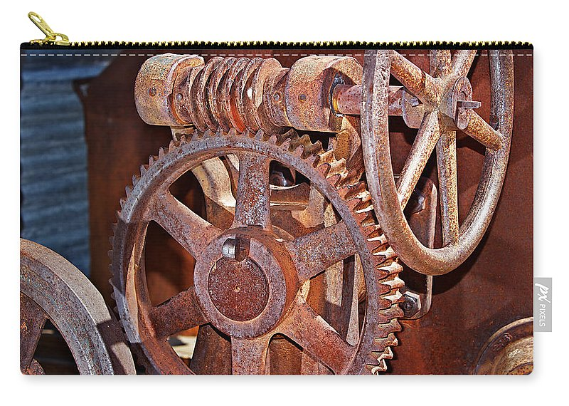 Gears Carry-all Pouch featuring the photograph Rust Gears And Wheels by Phyllis Denton