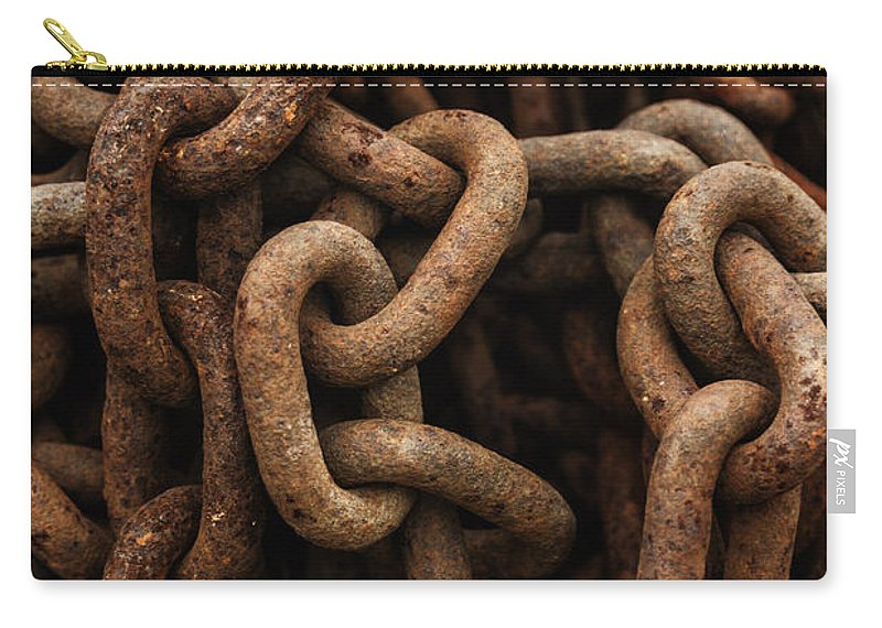 Chain Carry-all Pouch featuring the photograph Rusted Chain by Margie Hurwich