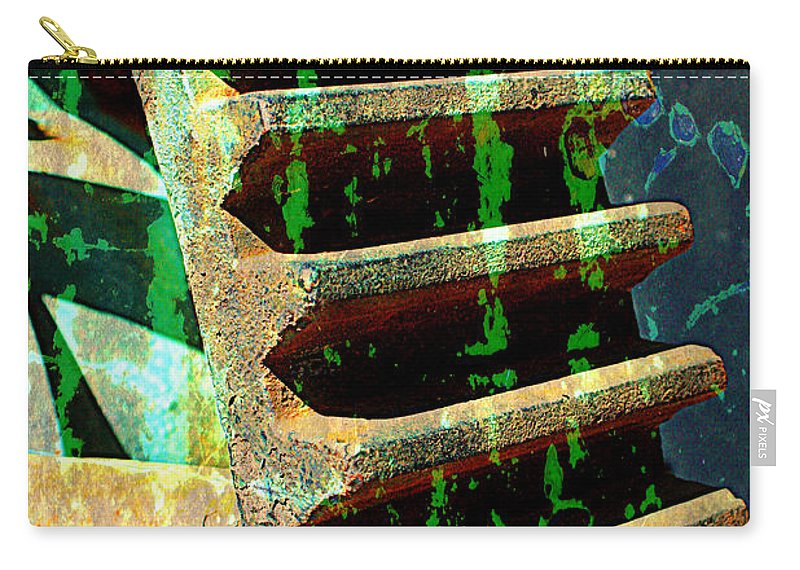 Rust Carry-all Pouch featuring the photograph Rusted Gears Abstract by Carol Groenen