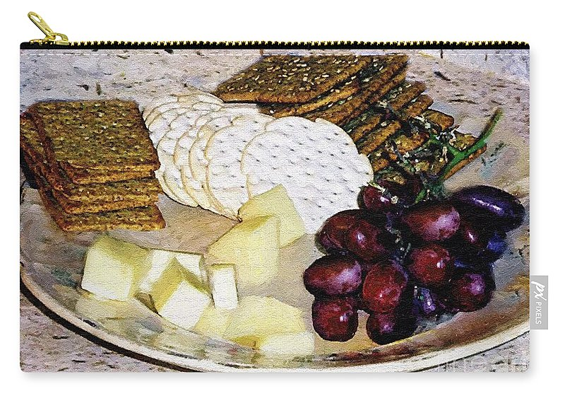 Cheese Carry-all Pouch featuring the painting Rustic Repast by RC DeWinter