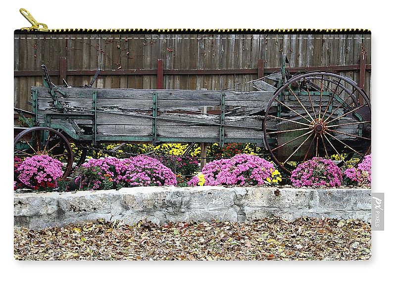 Fall Mums Carry-all Pouch featuring the photograph Rustic Wagon by Elizabeth Winter