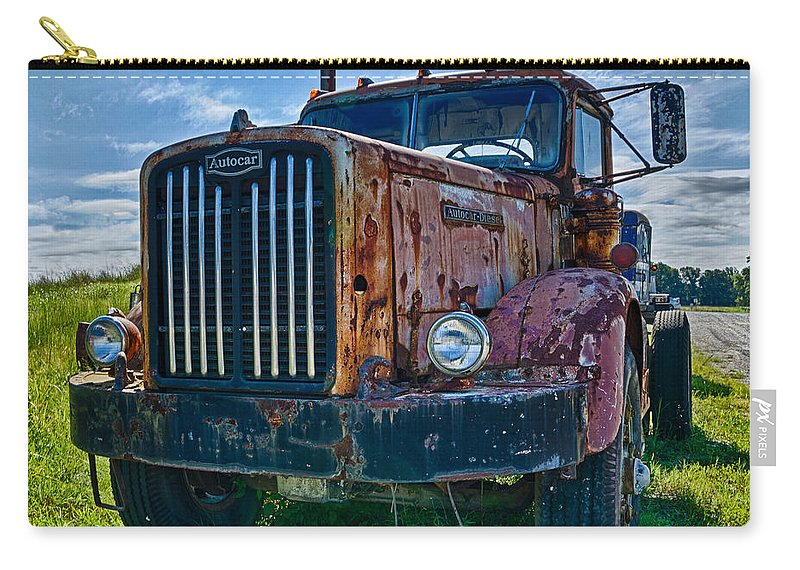 Truck Farm Carry-all Pouch featuring the photograph Rusty Autocar by Georgette Grossman