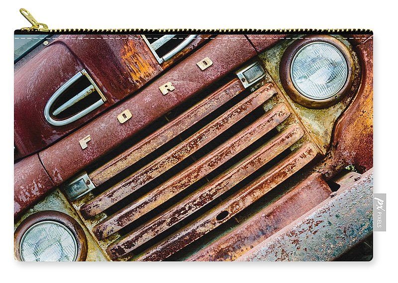 Truck Farm Carry-all Pouch featuring the photograph Rusty Ford Grill by Georgette Grossman