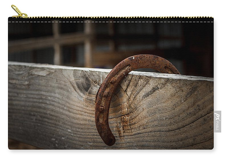 Horseshoe Carry-all Pouch featuring the photograph Rusty Horseshoe by Doug Long