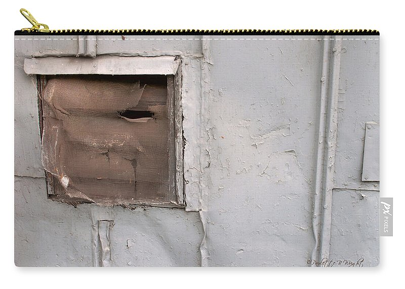 Feature Art Carry-all Pouch featuring the photograph Rusty Vent Face by Paulette B Wright