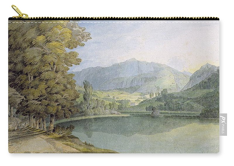 Landscape Carry-all Pouch featuring the drawing Rydal Water by Francis Towne