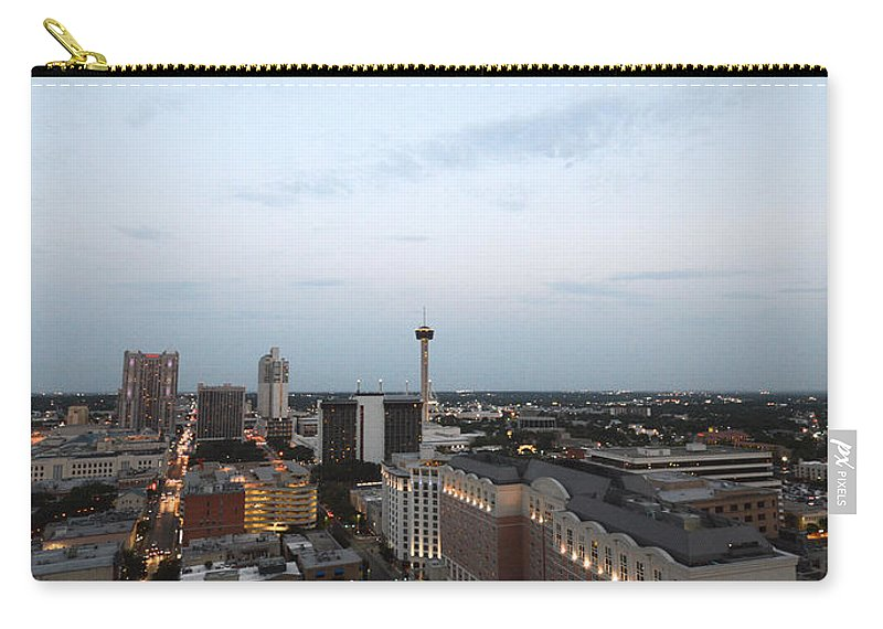 Architecture Carry-all Pouch featuring the photograph Sa Skyline Go Spurs Go 2013 by Shawn Marlow