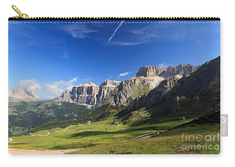 Alpine Carry-all Pouch featuring the photograph Saas Pordoi And Fassa Valley by Antonio Scarpi