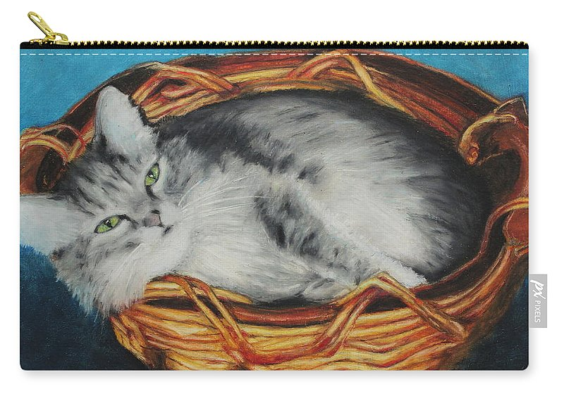 Mammal Carry-all Pouch featuring the painting Sabrina In Her Basket by Jeanne Fischer