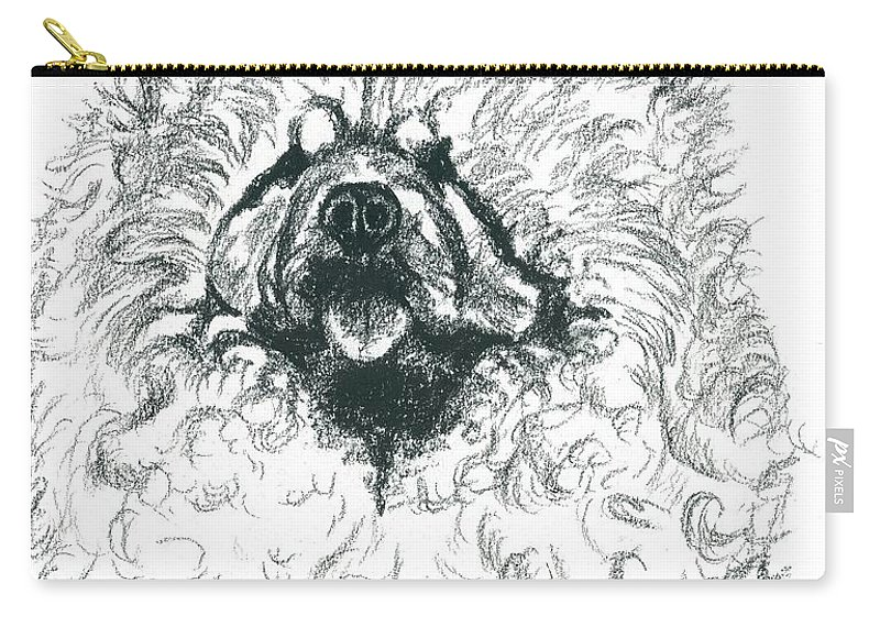 Charcoal Carry-all Pouch featuring the drawing Sachiko by Sheri Brown