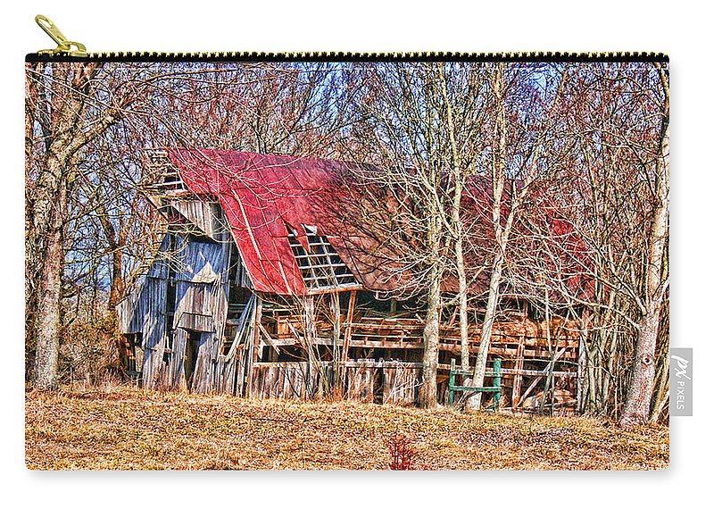 Barn Carry-all Pouch featuring the photograph Sad Barn - Featured In 'old Buildings And Ruins' by Ericamaxine Price