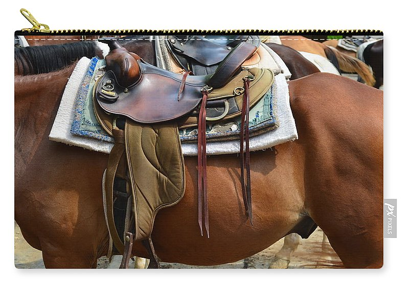 Partner Carry-all Pouch featuring the photograph Saddle Up Partner by Frozen in Time Fine Art Photography